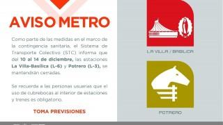 Tarjeta Informativa: Cierre de las estaciones La Villa-Basílica y Potrero